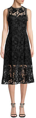 Shoshanna Glengarry Velvet Floral Lace Sleeveless Dress