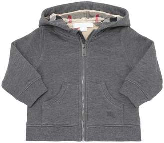 Burberry Hooded Cotton Sweatshirt W/ Check Detail