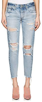 Moussy Women's Creston Distressed Tapered Jeans