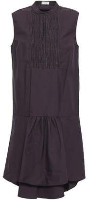 Brunello Cucinelli Bead-embellished Shirred Cotton-blend Poplin Mini Dress