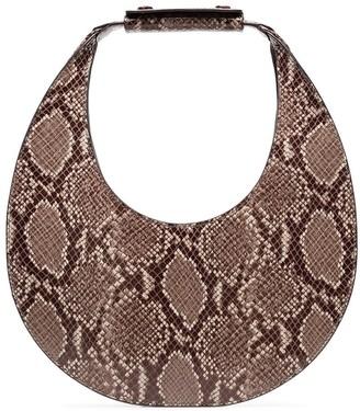 STAUD snakeskin moon shoulder bag