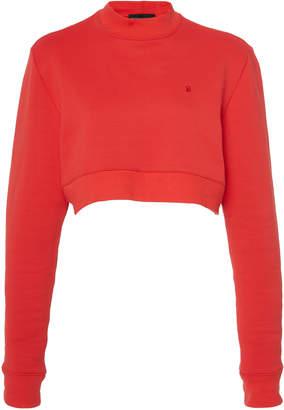 Brandon Maxwell Cropped Fleece Sweatshirt