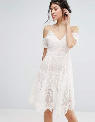 Love Triangle Lace Cold Shoulder Midi Dress $83 thestylecure.com