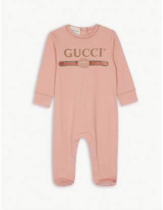 Gucci Vintage logo cotton sleepsuit 0-9 months