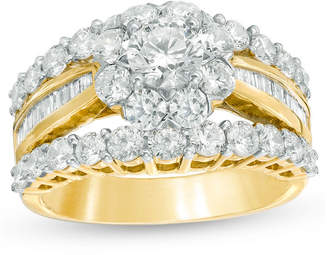 Zales 3 CT. T.W. Diamond Frame Multi-Row Engagement Ring in 10K Gold