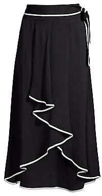 b913fe224d B Women's Tie-Waist Contrast Piping High-Low Midi Skirt