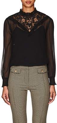 Derek Lam 10 Crosby Women's Lace-Inset Georgette Blouse