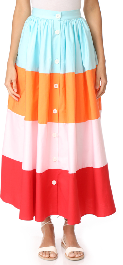 MDS Stripes Colorblock Button Front Skirt