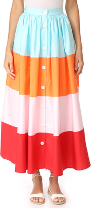 MDS Stripes Colorblock Button Front Skirt $495 thestylecure.com