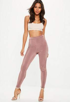 Missguided Pink Slinky Full Length Leggings
