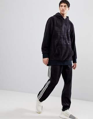 adidas Adicolor Velour Hoodie In Oversized Fit In Black Cy3549