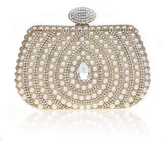 Snowskite Women's Luxury Crystals Beaded Pearl Wedding Evening Formal Cocktail Clutch Purse Bag