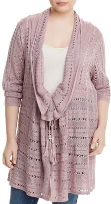 Love Scarlett Plus Long Open-Knit Cardigan