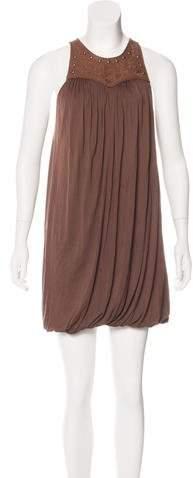 Ralph Lauren Leather-Accented Mini Dress