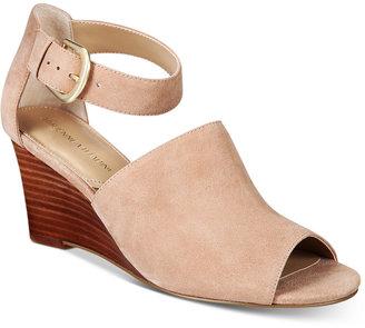 Adrienne Vittadini Ranta Peep-Toe Wedge Sandals $99 thestylecure.com