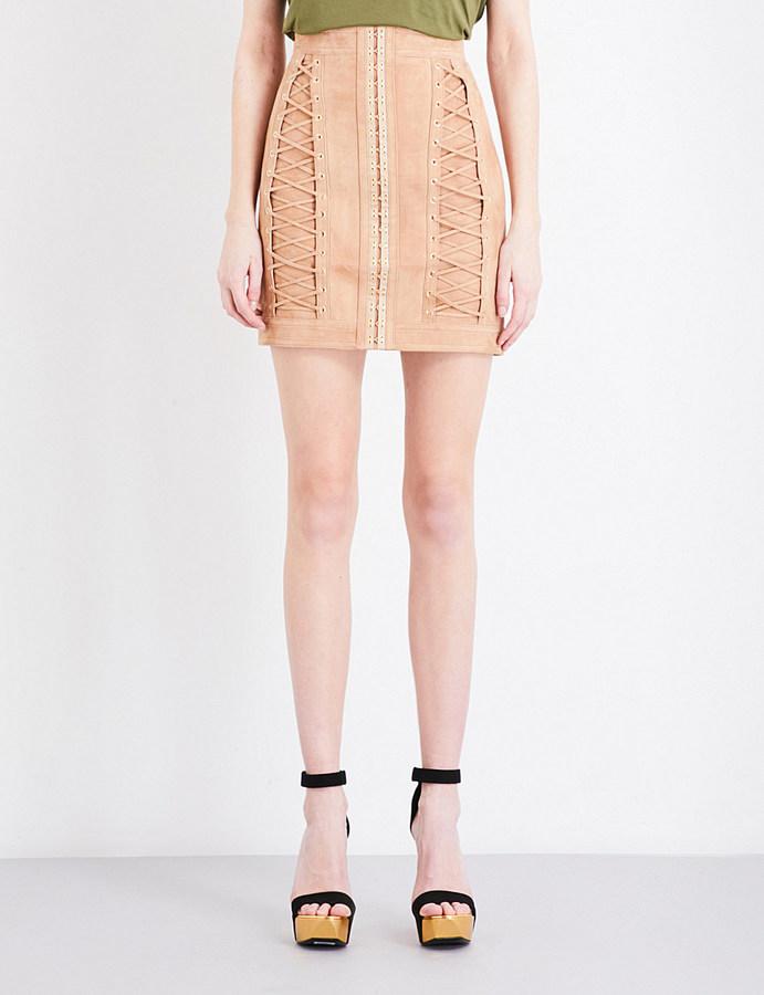 BalmainBalmain Lace-up suede mini skirt