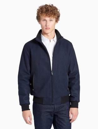 Calvin Klein melton wool blend bomber jacket