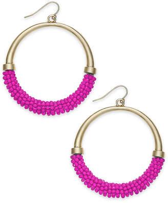 "INC International Concepts Trina Turk x I.n.c. Large 2"" Gold-Tone Beaded Drop Hoop Earrings"