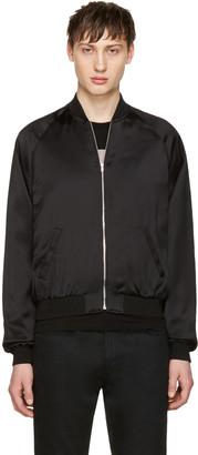Saint Laurent Black Satin Snake Bomber Jacket $3,290 thestylecure.com