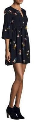 Joie Avari Retro Bell-Sleeve Silk Mini Dress