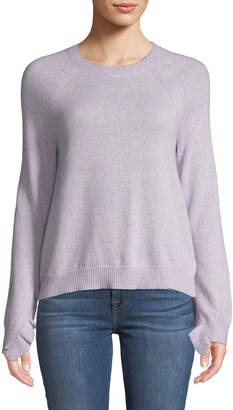 Marled By Reunited Clothing Cashmere Ruffle-Cuff Sweater