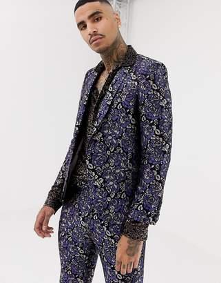 Twisted Tailor super skinny suit jacket in floral jacquard