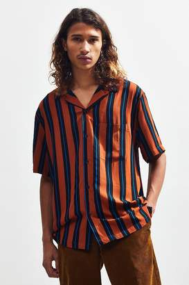 Urban Outfitters Vertical Stripe Short Sleeve Button-Down Shirt