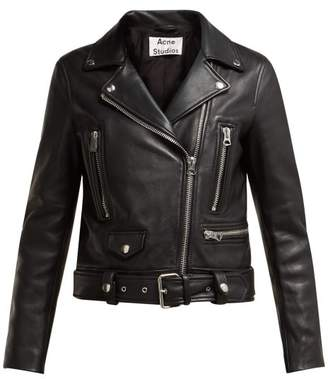 Acne Studios Mock Leather Biker Jacket - Womens - Black
