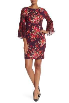 Sandra Darren 3\u002F4 Sleeve Pleat Print Dress