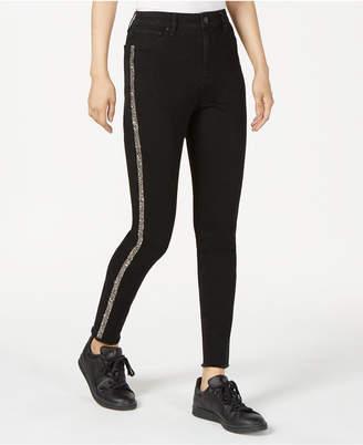 Tinseltown Juniors' Glitter-Striped Skinny Jeans
