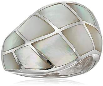 Mother of Pearl Sterling Crazy Inlay Squares Ring