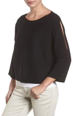 Eileen Fisher Crop Merino Wool Sweater