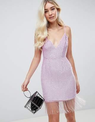 Asos Design DESIGN heavily embellished sequin mini dress with fringe hem