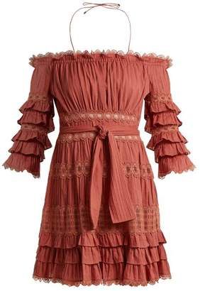 Zimmermann Corsair Off The Shoulder Ruffled Cotton Dress - Womens - Pink