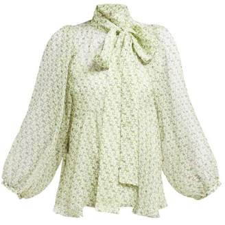 Rochas Orianax Floral Print Silk Chiffon Blouse - Womens - Green Multi