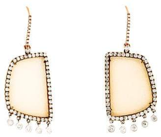 Meira T 14K Diamond & Druzy Agate Drop Earrings