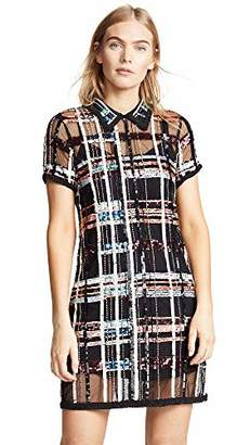 Parker Women's Grayson Short Sleeve Collared Plaid Sequin Mini Dress