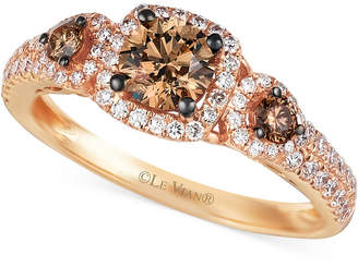 LeVian Le Vian Chocolate and White Diamond Three-Stone Ring in 14k Rose Gold (1 ct. t.w.)