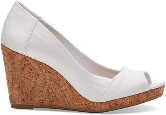 Toms White Grosgrain Women's Stella Peep-Toe Wedges