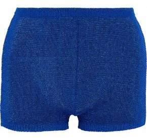 Balmain Metallic Crochet-Knit Shorts
