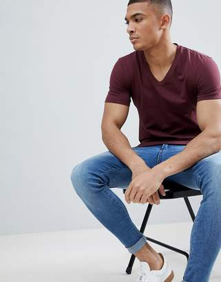 Asos DESIGN muscle fit t-shirt with v neck in red