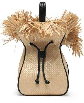 3.1 Phillip Lim Leather-Trimmed Frayed Woven Bucket Bag