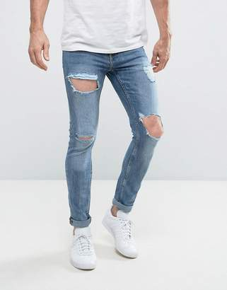 New Look Skinny Jeans With Open Rips In Blue