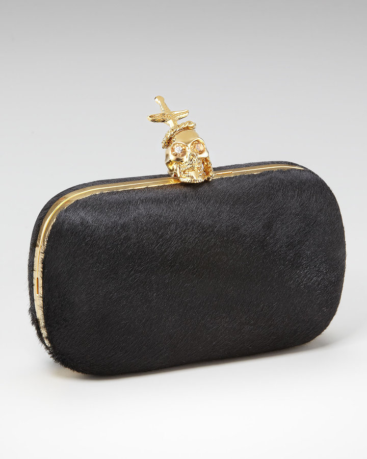 Alexander McQueen Calf Hair Box Clutch, Black
