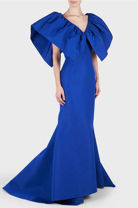 Christian Siriano Silk Wing Sleeve Gown