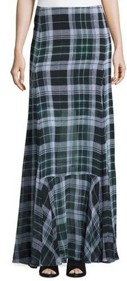 McQ Alexander McQueen Flared Fluid Plaid Silk Maxi Skirt, Green $860 thestylecure.com