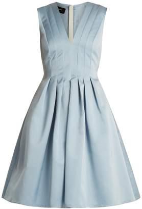 Rochas V-neck pleated duchess-satin dress