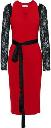 Amanda Wakeley Lace-paneled Cutout Crepe Midi Dress