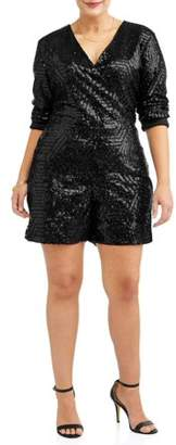 Paper Tee Women's Plus Long Sleeve Geo Sequin Romper