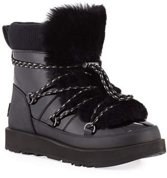 UGG Highland Waterproof Patent/Shearling Lace-Up Boots